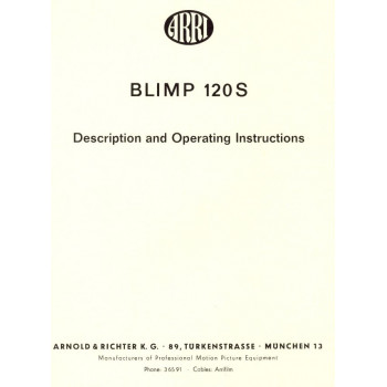 Arriflex blimb 120 s description and operating instructions