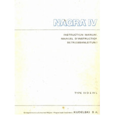 Nagra iv d and iv l operating instructions user manual