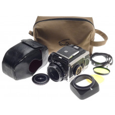 BRONICA S2 CHROME FILM CAMERA KOGAKU NIKKOR-P 2.8 f=75mm CASE CAP HOOD STRAP KIT