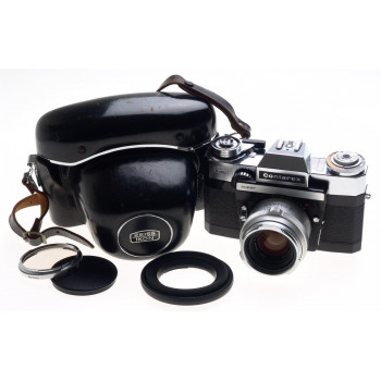 ZEISS CHROME CONTAREX SUPER SLR FILM CAMERA PLANAR 2/50 CAP CASE f=50mm KIT MINT