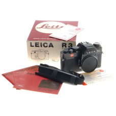 LEICA 10032 R3 ELECTRONIC BOXED SLR 35mm FILM CAMERA BODY BLACK WITH STRAP USED