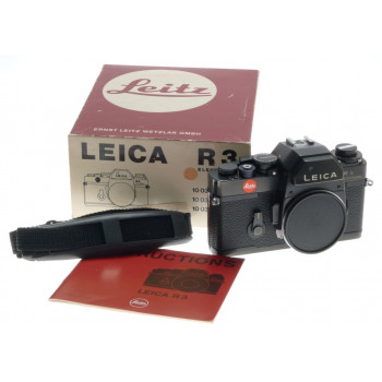 10032  LEICA R3 ELECTRONIC SLR 35mm FILM CAMERA BODY BLACK WITH STRAP BOX MANUAL