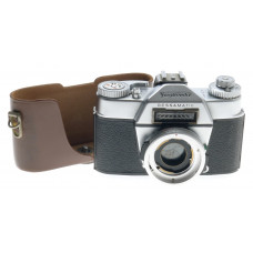 VOIGTLANDER SLR FILM CAMERA CHROME BODY HALF CASE USED BESSAMATIC WITH HALF CASE