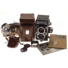 ROLLEIFLEX ZEISS PLANAR 1:3.5/75mm LENS TLR f=75mm CAMERA METER CASE CAP MANUALS