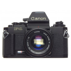 CANON Black F-1 SLR 35mm film F1 camera FD 50mm 1:1.8 filter cap good condition