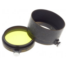 LEICA Black paint Leitz Elmar 3.5 camera Lens hood shade well used yellow filter