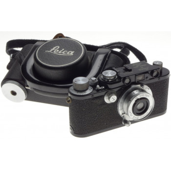 LEICA I upgrade Black paint shark skin RF camera Elmar1:3.5/35mm rare MBROO case