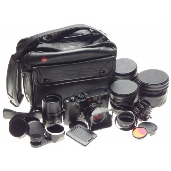 LEICA Black M6 35mm Rangefinder film camera 3 lenses filters hood cases caps kit