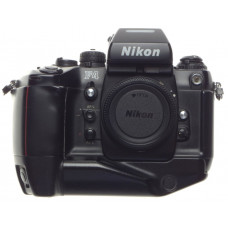 Black F4 Nikon SLR 35mm film camera body prism finder battery grip with strap