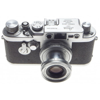 LEICA IIIg chrome 35mm rangefinder camera with 2.8/5cm Elmar 2.8 f=50mm lens kit