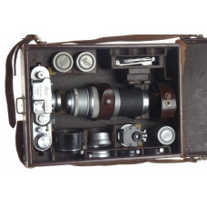 LEICA IIIa ELMAR 3.5/35mm chrome camera ROSOL VIOOH finder HEKTOR case kit more