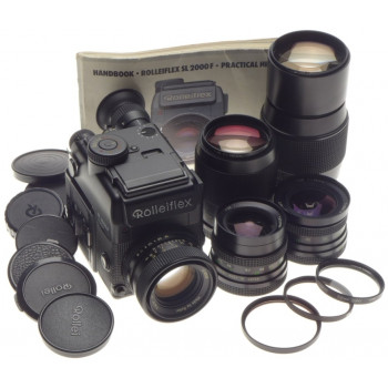ROLLEIFLEX SL 2000 F motor 35mm film camera kit 5 lenses complete manual caps