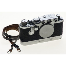 LEICA IIIf CHROME CAMERA BODY RED DIAL M39 LEICAVIT FILM WINDER DRIVE RARE CLEAN