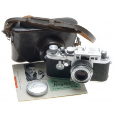 LEICA IIIg 3G CAMERA LEITZ SILVER CHROME PRIME ELMAR 1:2.8/50mm CASE CAP MANUAL