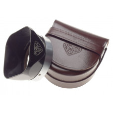 Rolleiflex TLR lens hood shade original black retro in leather small brown case