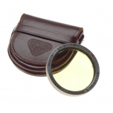 Rolleiflex Rollei-Gelb-Hell Yellow Filter in little brown leather case fits TLR