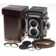 ROLLEIFLEX MODEL T MEDIUM FORMAT CAMERA TESSAR 1:3.5 f=75mm METER WLF STRAP CASE