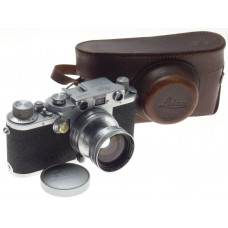 JUST SERVICED LEICA IIIC SHARK SKIN CAMERA SUMMITAR f=5cm 1:2 LENS 2/50mm CASED