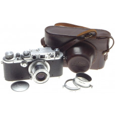 LEICA IIIb M39 RANGE FINDER CAMERA ELMAR f=5cm 1:3.5 LENS 3.5/50mm HOOD UVa CASE